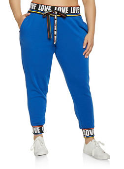 Plus Size Love Rib Knit Trim Sweatpants - 1951051064068