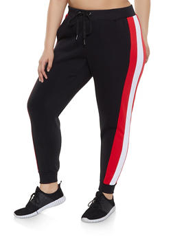 Plus Size Colored Side Stripe Sweatpants - 1951051064070