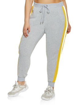 Plus Size Colored Side Stripe Sweatpants - 1951051064070
