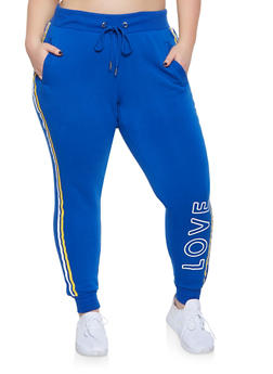 Plus Size Love Graphic Joggers | 1951051064075 - 1951051064075