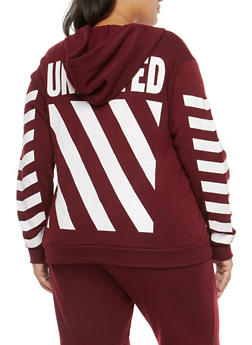 Plus Size Striped Graphic Hooded Sweatshirt - 1951051066138