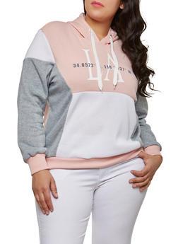 Plus Size Graphic Color Block Sweatshirt - 1951051066432