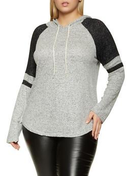 Plus Size Hooded Brushed Knit Raglan Top - 1951054260608
