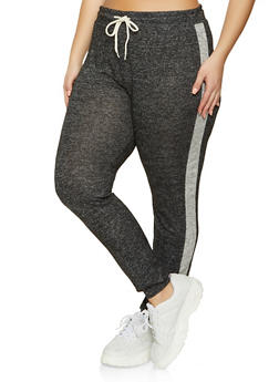 Plus Size Side Stripe Brushed Knit Joggers - 1951054260611