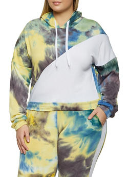 Plus Size Tie Dye Color Block Sweatshirt - 1951056721539