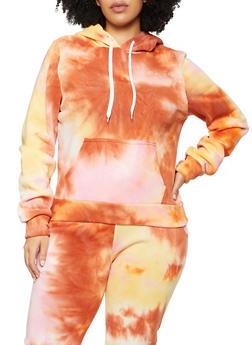 Plus Size Tie Dye Print Hooded Sweatshirt - 1951056721619