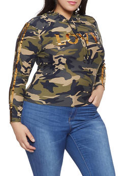 Plus Size Love Foil Camo Hooded Top - 1951062120039