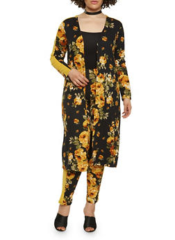 Plus Size Soft Knit Floral Duster - 1951062125005