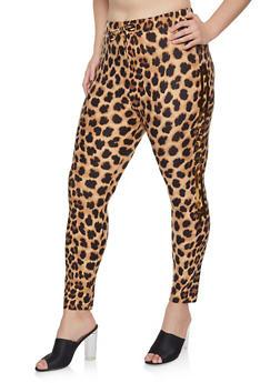 Plus Size Leopard Print Leggings - 1951062125056