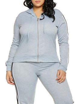 Plus Size Striped Sleeve Sweatshirt - 1951062700007
