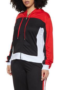 Plus Size Color Block Hooded Sweatshirt - 1951062700015