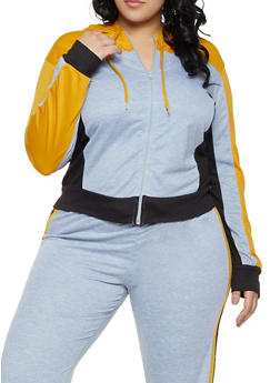 Plus Size Color Block Hooded Sweatshirt - 1951062700015