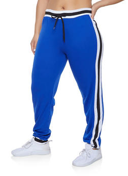 Plus Size Side Stripe Detail Sweatpants - 1951062700019