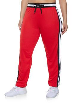 Plus Size Side Stripe Detail Sweatpants - 1951062700019