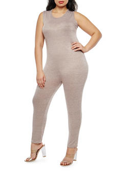 Plus Size Marled Sleeveless Catsuit - 1951063400512