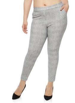 Plus Size Plaid Dress Pants - 1951063400686