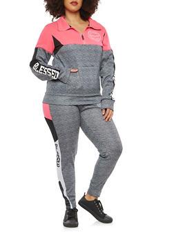 Plus Size Blessed Graphic Half Zip Sweatshirt - 1951063404792