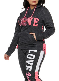 Plus Size Embroidered Lace Up Sweatshirt - 1951063405089