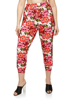 Plus Size Side Stripe Floral Joggers - 1951072240076