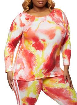 Plus Size Tie Dye Scoop Neck Top - 1951074010024