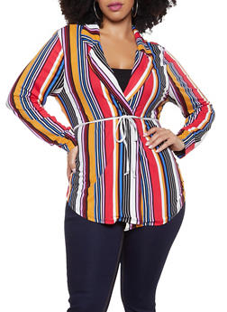 Plus Size Striped Soft Knit Cardigan - 1951074280029