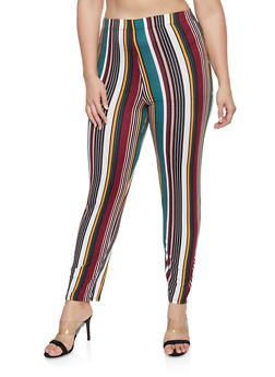 Plus Size Striped Soft Knit Pants - 1951074280030
