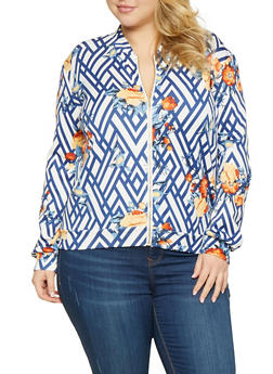 Plus Size Printed Track Jacket - 1951074280031