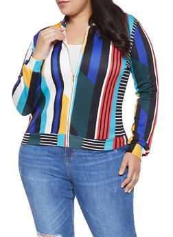 Plus Size Striped Scuba Track Jacket - 1951074280033