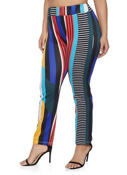 Plus Size Printed Scuba Knit Pants - 1951074280034