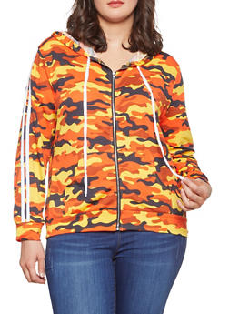 Plus Size Camo Zip Up Sweatshirt - 1951074280035