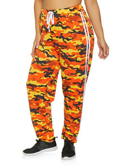 Plus Size Varsity Stripe Camo Joggers - ORANGE - 1951074280036