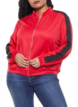 Plus Size Knit Trim Track Jacket - 1951074281122