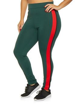 Plus Size Side Stripe Leggings - 1951074281125