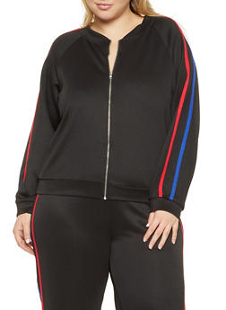 Plus Size Varsity Stripe Track Jacket - 1951074281400