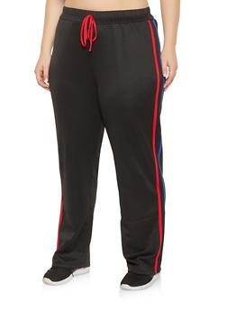 Plus Size Varsity Stripe Track Pants - 1951074281401