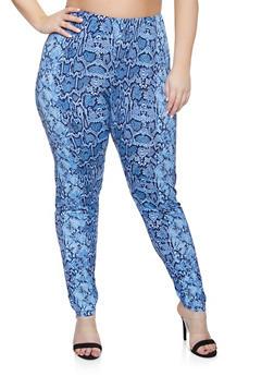 Plus Size Snake Print Pants - 1951074283410