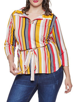 Plus Size Striped Tie Waist Top - 1951074283803