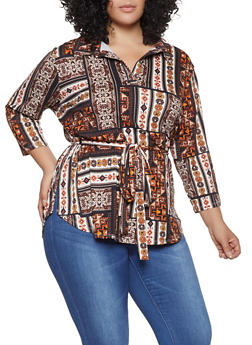 Plus Size Printed Tie Waist Top - 1951074283805