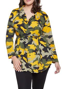 Plus Size Camo Tie Waist Shirt - MUSTARD - 1951074283807