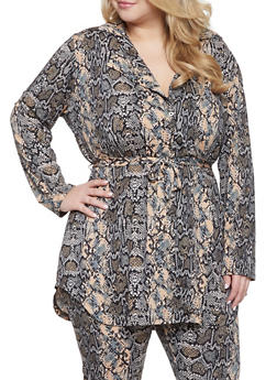 Plus Size Belted Snake Print Tunic Shirt - 1951074283809