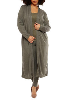 Plus Size Ribbed Knit Duster - 1951074289050