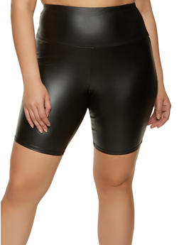 Plus Size Coated Bike Shorts - 1960001440013