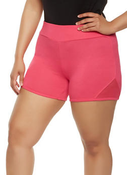 Plus Size Mesh Insert Bike Shorts - 1960001441369