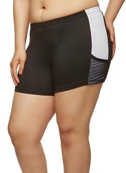 Plus Size Soft Knit Mesh Trim Shorts - 1960001441373