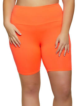 Plus Size Soft Knit Solid Bike Shorts - 1960001441466