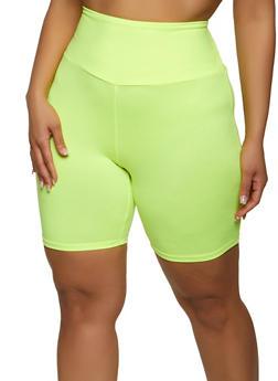 Plus Size Soft Knit Solid Bike Shorts - 1960001441466