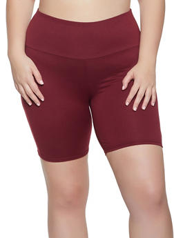 Plus Size Solid Soft Knit Bike Shorts - 1960001441467