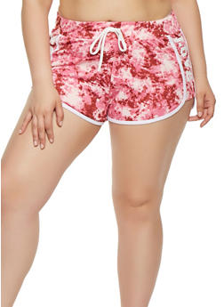 Plus Size Tie Dye Graphic Dolphin Shorts - 1960038348501