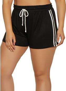 Plus Size Varsity Stripe Shorts - 1960054260990