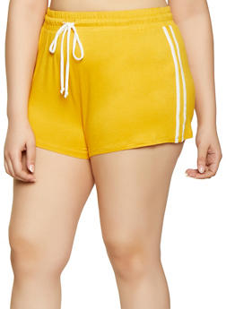 Plus Size Varsity Stripe Shorts - 1960054260990